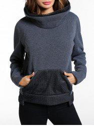 Sweat-shirt à poche kangourou avec empiècements en maille -