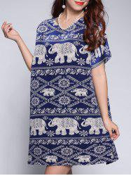 Elephant Tribal Print Mini Dress -