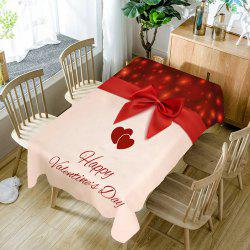 Love Heart Bowknot Print Waterproof Table Cloth -