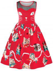 Sleeveless Kitten Print Swing Dress -
