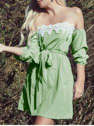 Off The Shoulder Lace Insert A Line Dress -