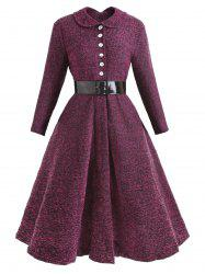 Collared Button Belted Vintage Dress -