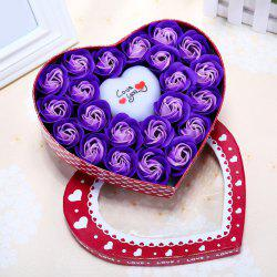 Valentine's Day Gift Led Flash Light Heart and Soap Roses in a Box -