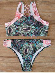 Back Criss Cross Print Bikini Set -