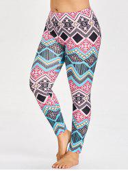 Tribal Plus Size Pattern Leggings for Yoga -