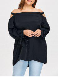 Plus Size Sleeve Tie Off The Shoulder Blouse -