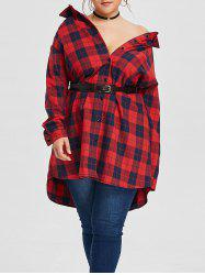 Plus Size Button Up Plaid Long Shirt -