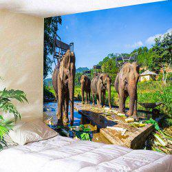 Thailand's Elephants Printed Wall Hanging Tapestry -