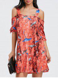 Tie Sleeve Print Cold Shoulder Dress -