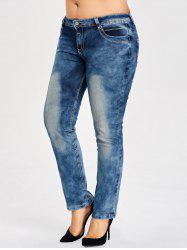 Plus Size Slim Bleach Wash  Jeans -