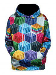 Color Block Magnetic Balls 3D Print Pullover Hoodie -