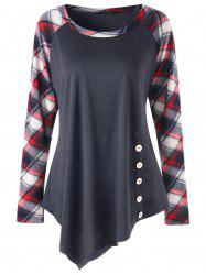 Plus Size Raglan Sleeve Plaid Panel Asymmetric Top - Deep Gray - 2xl