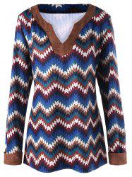 Plus Size V Neck Zigzag Print Top -