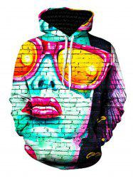 3D Glasses Girl and Wall Print Pullover Hoodie -