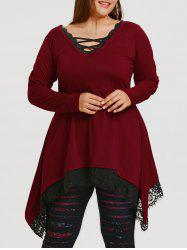 Lace Trim Plus Size Tunic Sharkbite T-shirt -