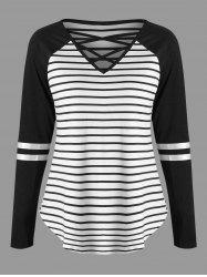 Lattice Neck Striped Curved Jersey Top -