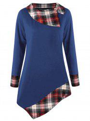 Plus Size Plaid Trim Asymmetrical Tee -