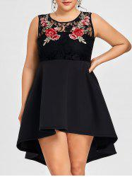 Floral Embroidery Plus Size High Low Dress -
