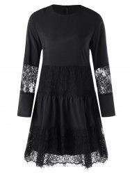 Lace Panel Dress with Slip Dress -