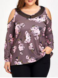 Plus Size Cold Shoulder Floral T-shirt -