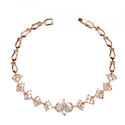 Sparkly Rhinestoned Floral Chain Bracelet -
