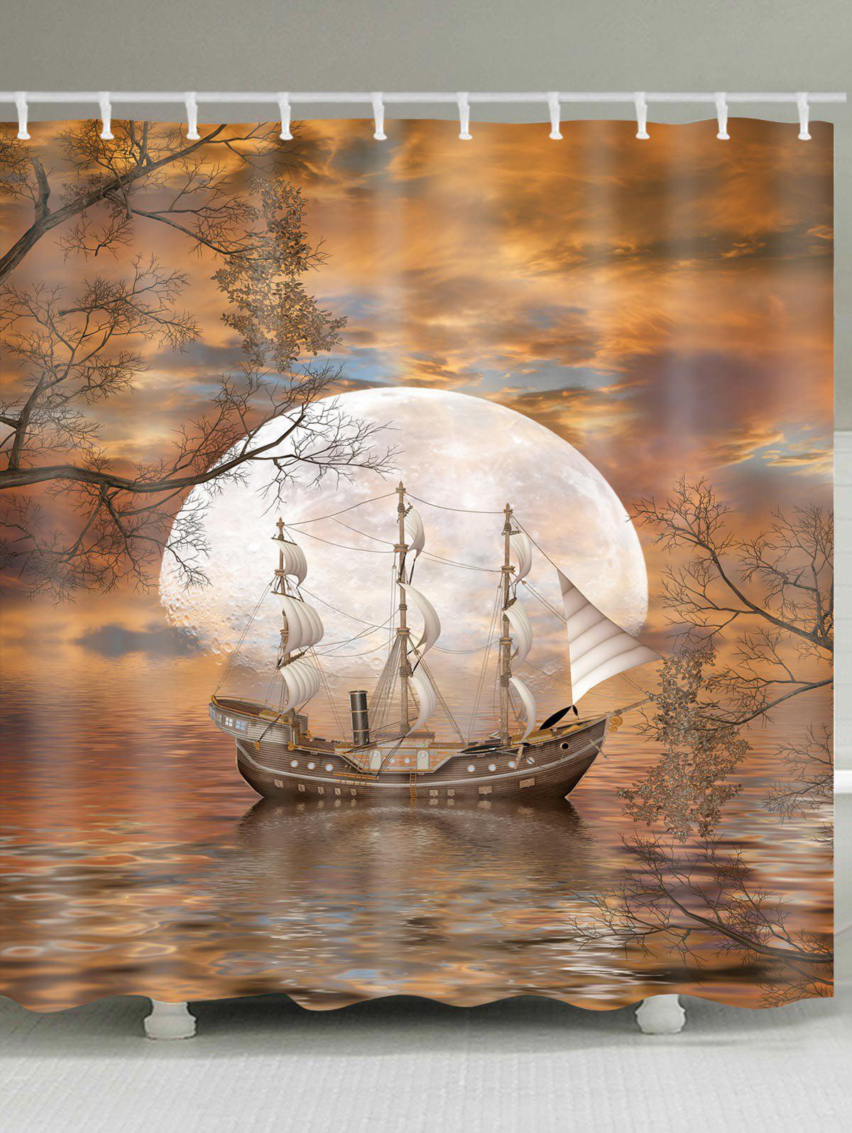 Affordable Moon Ship Print Waterproof Bathroom Shower Curtain