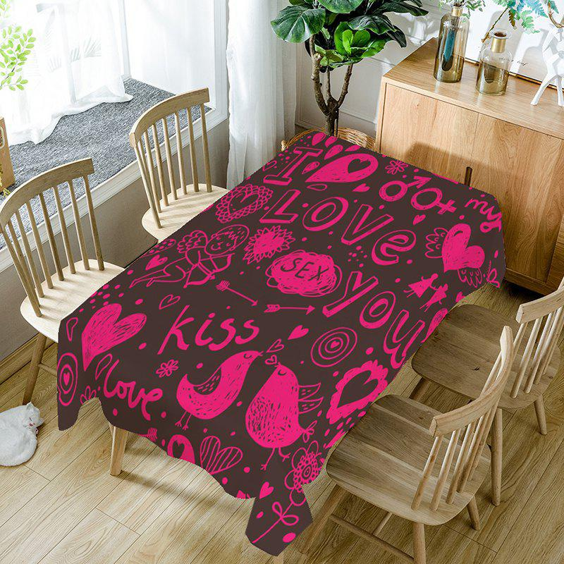Le jour de la Saint-Valentin Love Decorations Print Table Cloth