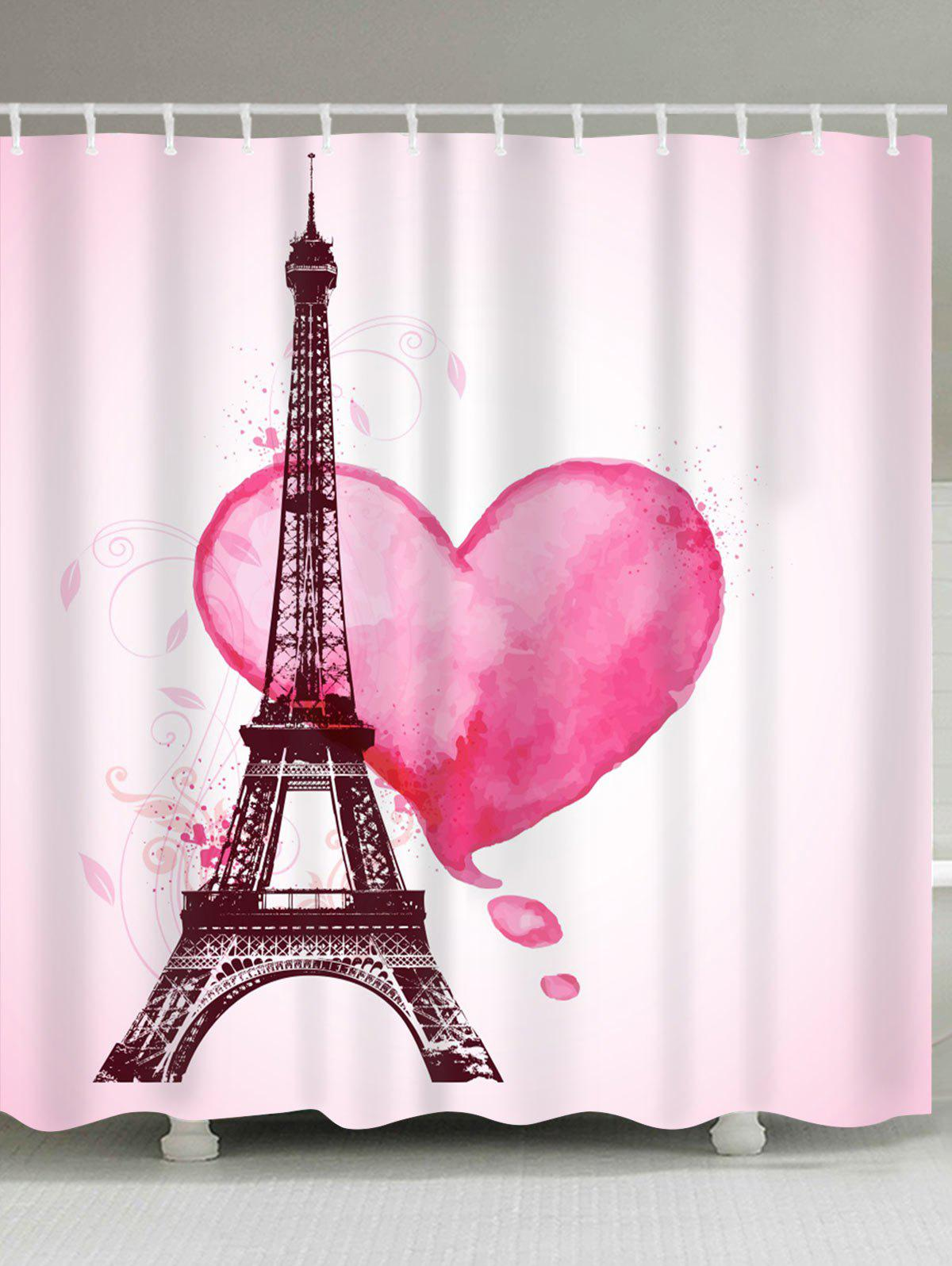 Store Valentine's  Day Eiffel Tower Heart Print Waterproof Bathroom Shower Curtain