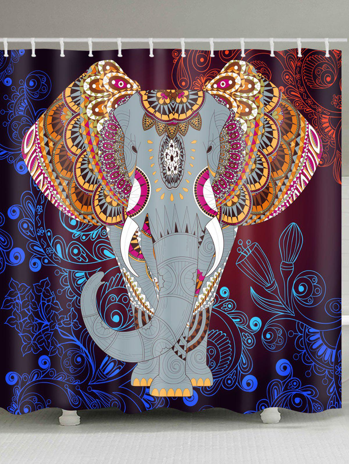 Latest Mandala Elephant Print Waterproof Bathroom Shower Curtain