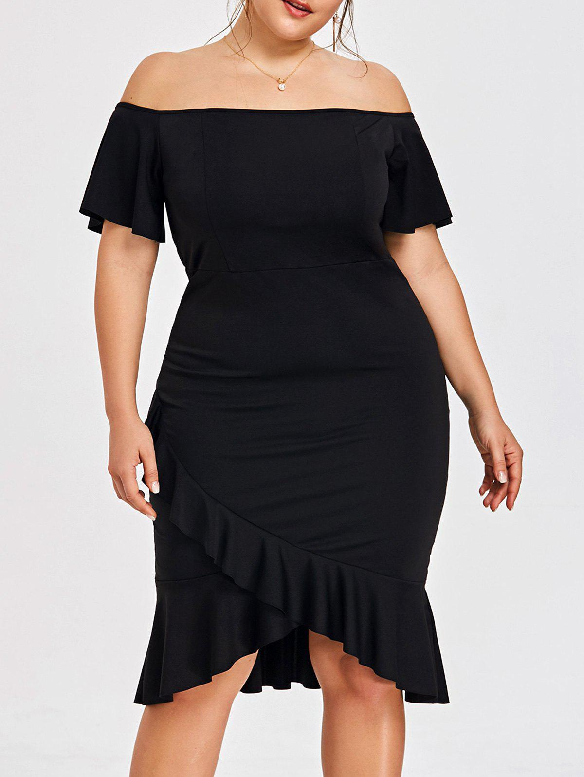 Black Xl Plus Size Off The Shoulder Mermaid Dress