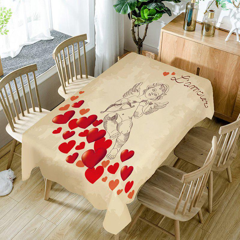 Affordable Love Heart and Cupid Print Waterproof Table Cloth