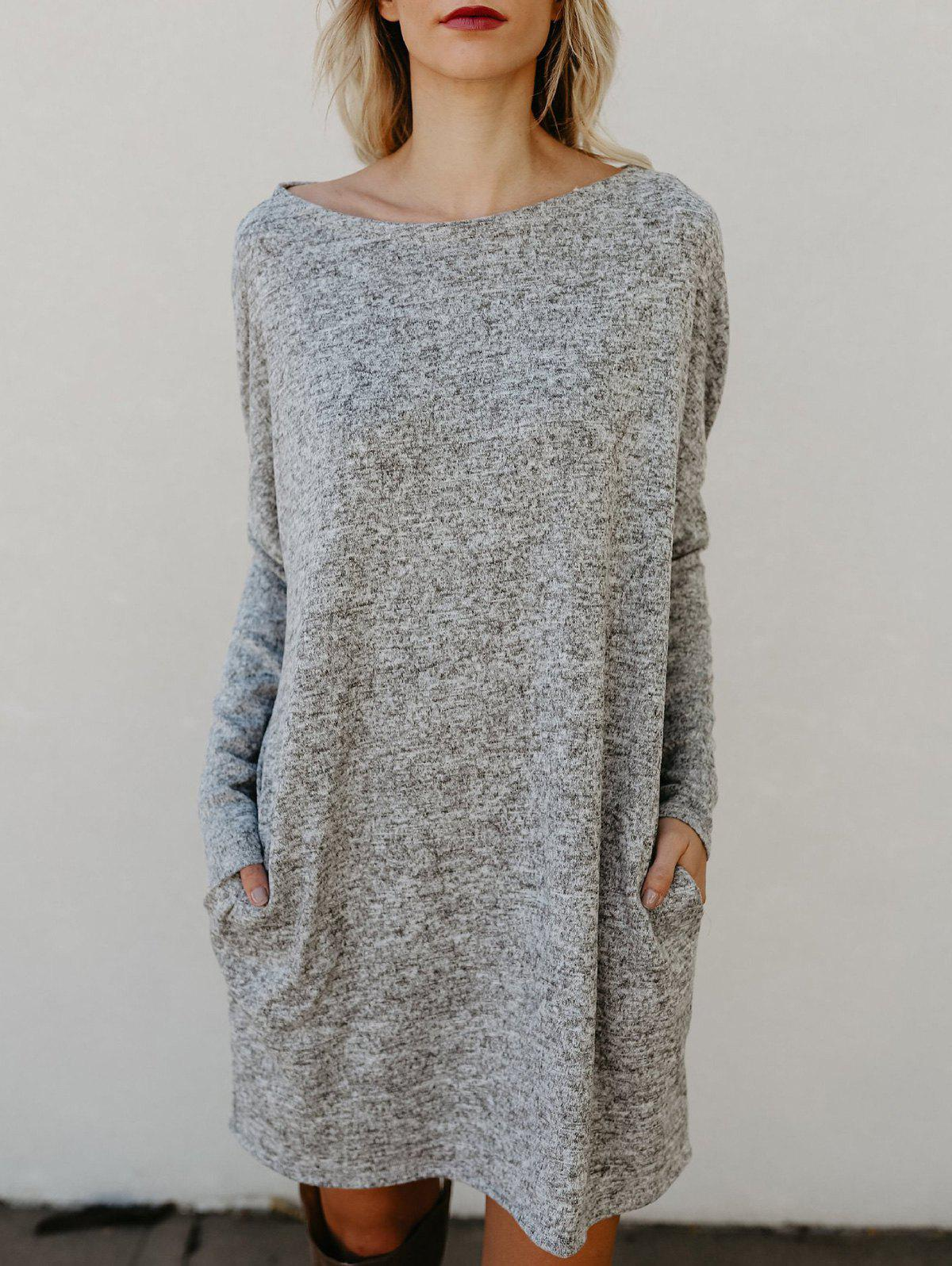 Buy Round Neck Long Sleeve Sweater Dress