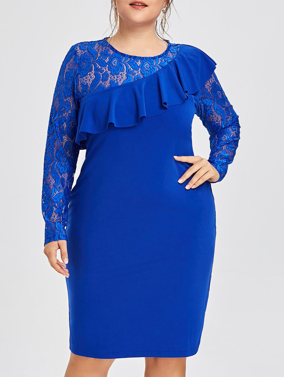 2019 Plus Size Ruffle Lace Insert Semi Formal Dress | Rosegal.com