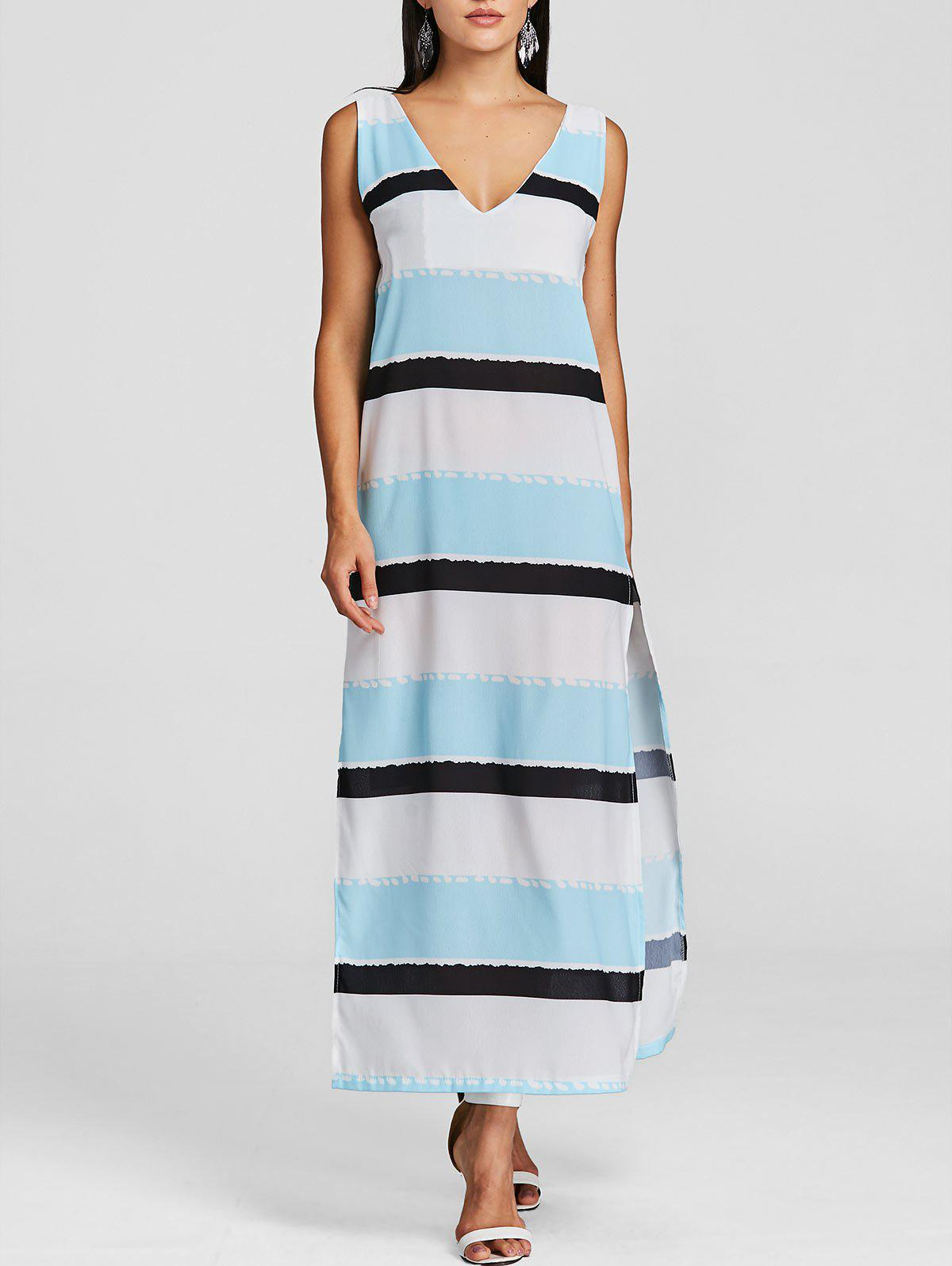 Outfits Plunging High Slit Striped Maxi Beach Dress