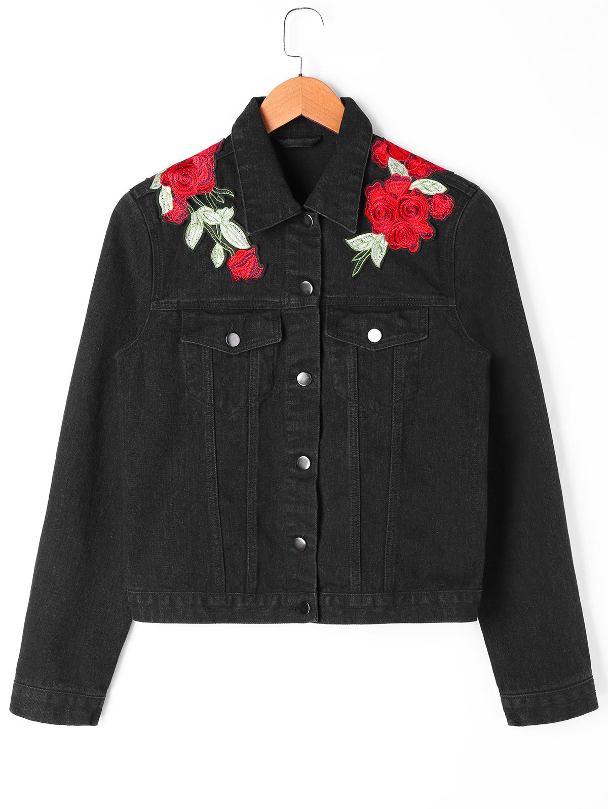 Sale Floral Embroidery Applique Shirt Jacket