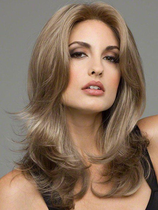 Hot Long Center Parting Slightly Curled Colormix Synthetic Wig