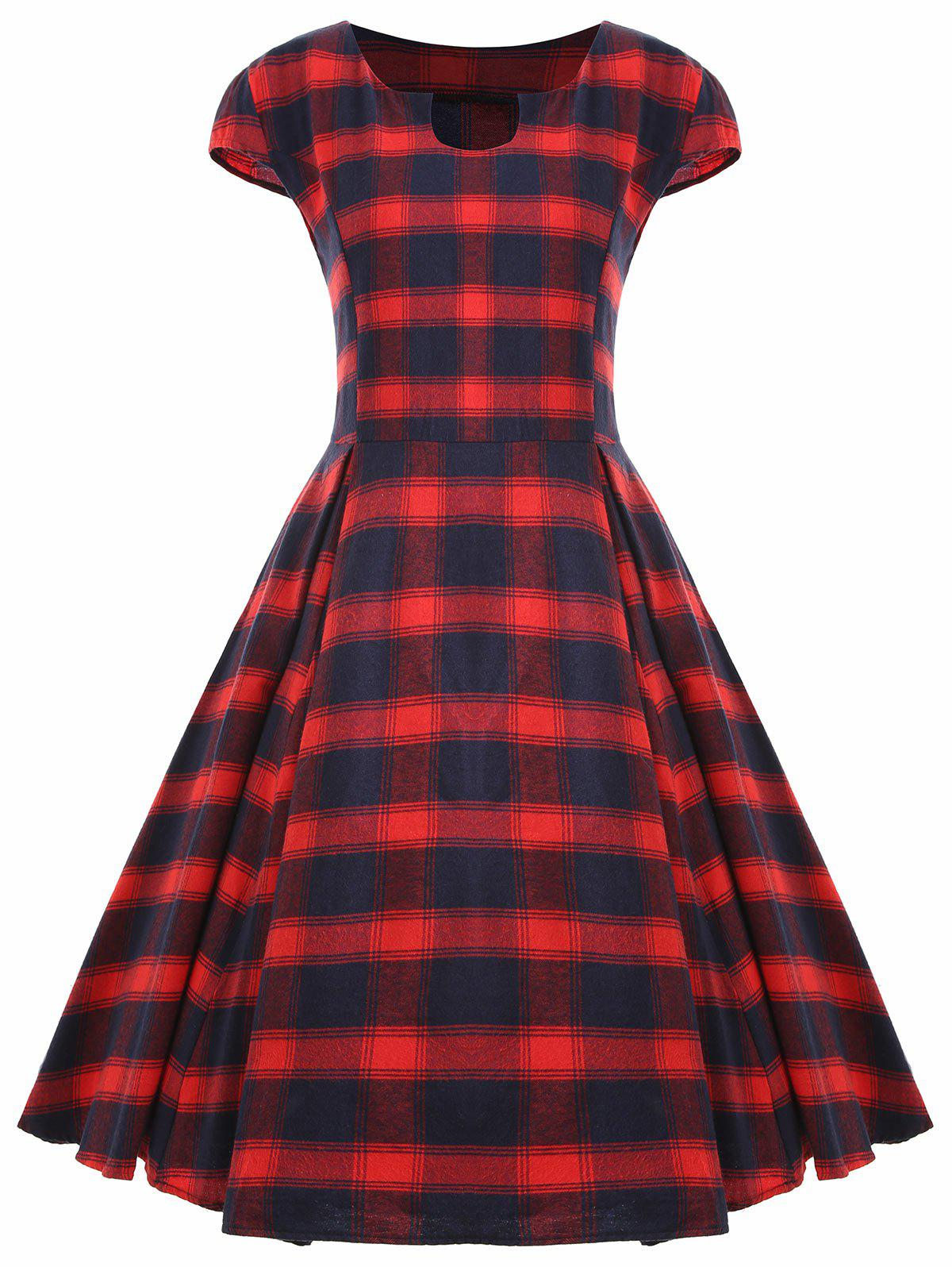 Chic Vintage Plaid Cap Sleeve Plus Size Dress