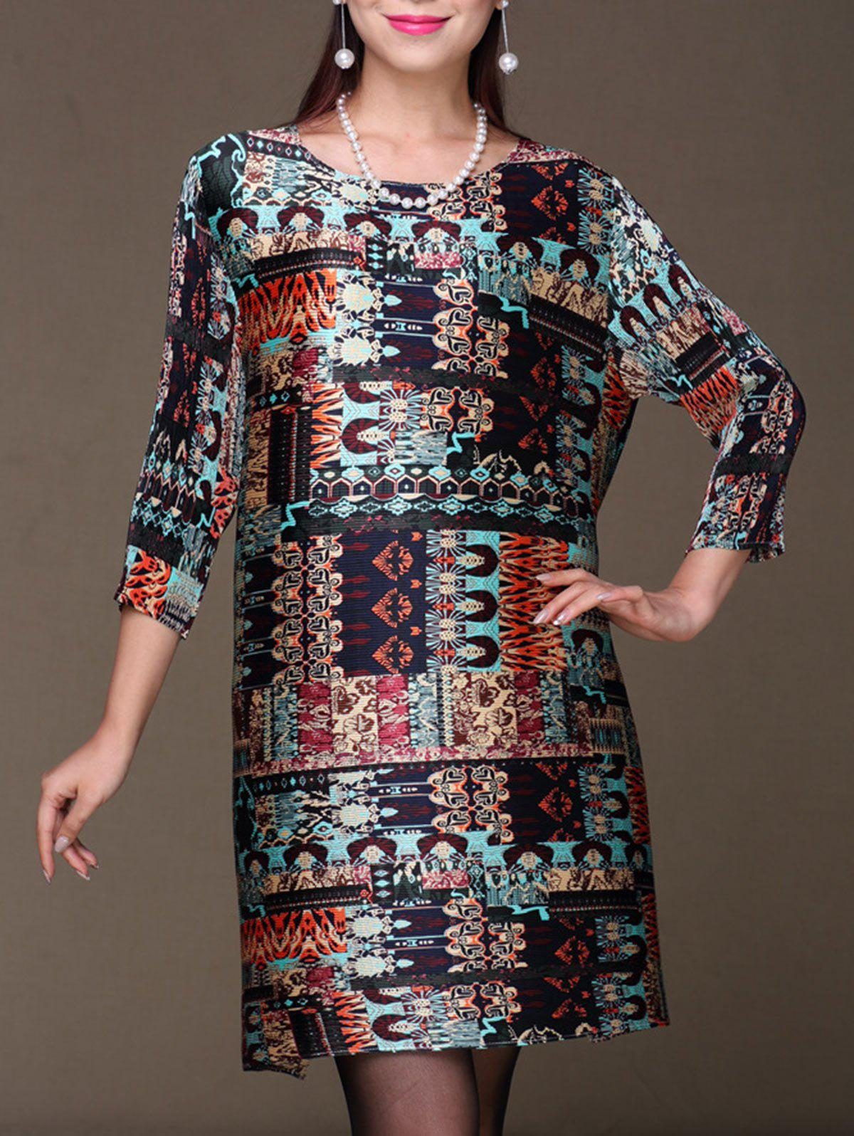 Chic Ethnic Print Shift Mini Dress