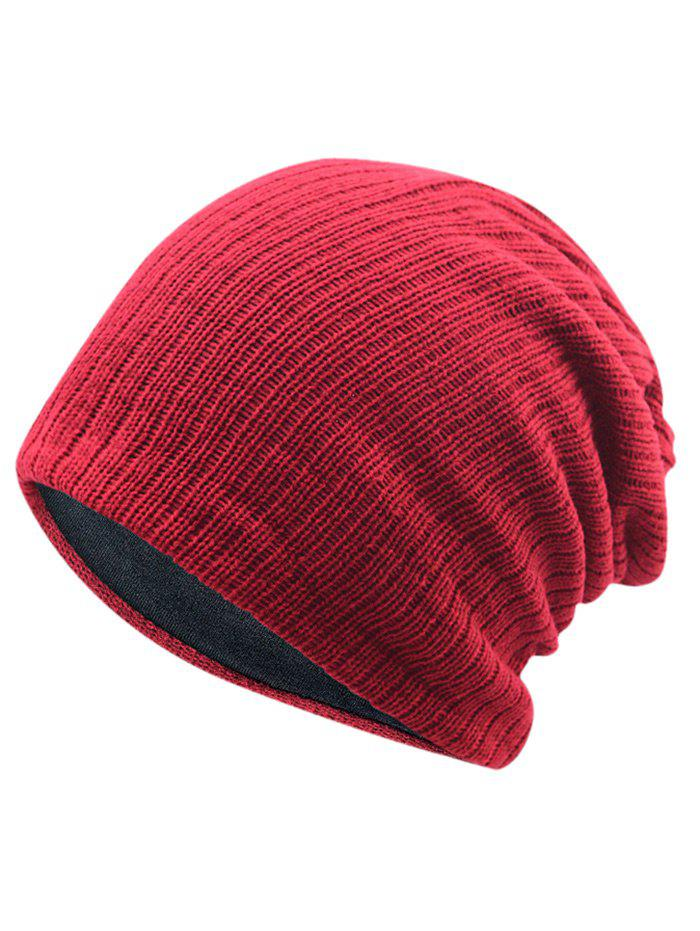 2018 Outdoor Striped Pattern Crochet Knitted Slouchy Beanie In Red