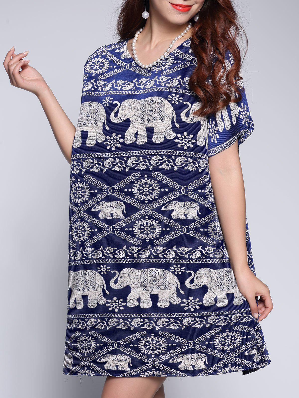 Cheap Elephant Tribal Print Mini Dress
