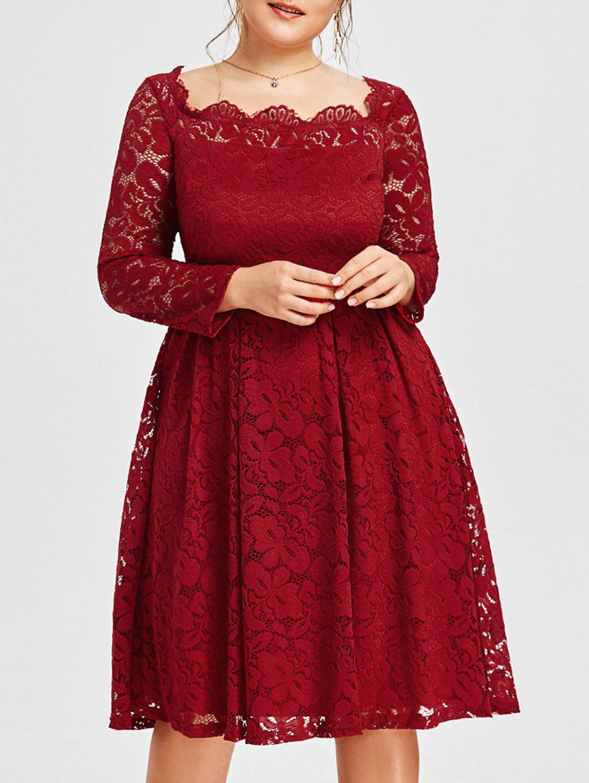 2018 Square Neck Lace Plus Size Formal Dress In Wine Red Xl ...