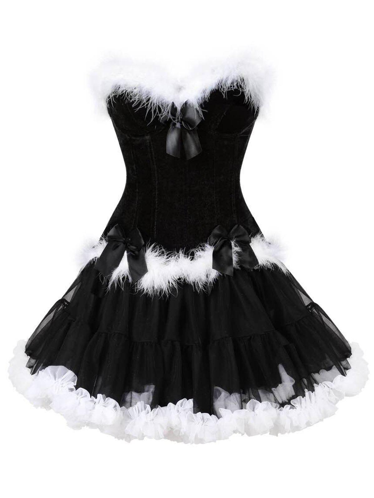 Discount Two Piece Christmas Ruffled Corset Dress