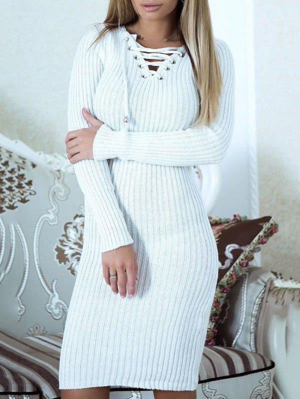Fancy Lace Up Ribbed Sweater Dress