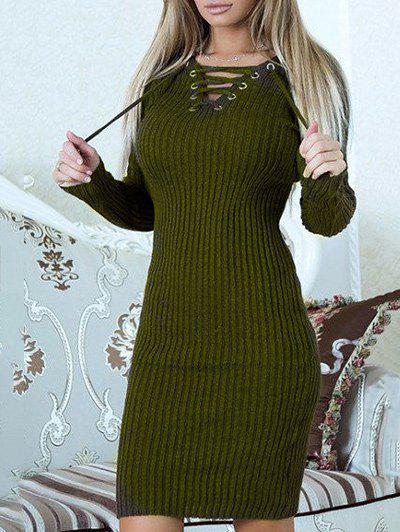 Chic Lace Up Ribbed Sweater Dress