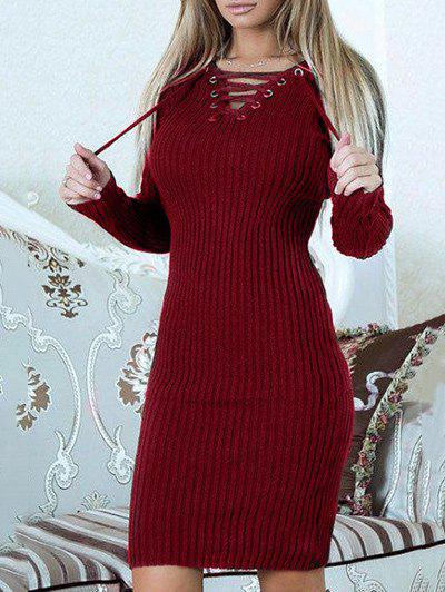Online Lace Up Ribbed Sweater Dress