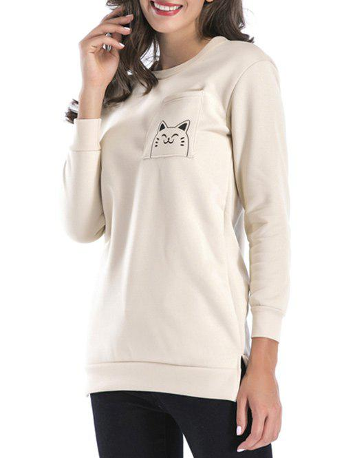 New Side Slit Back Cat Pattern Sweatshirt