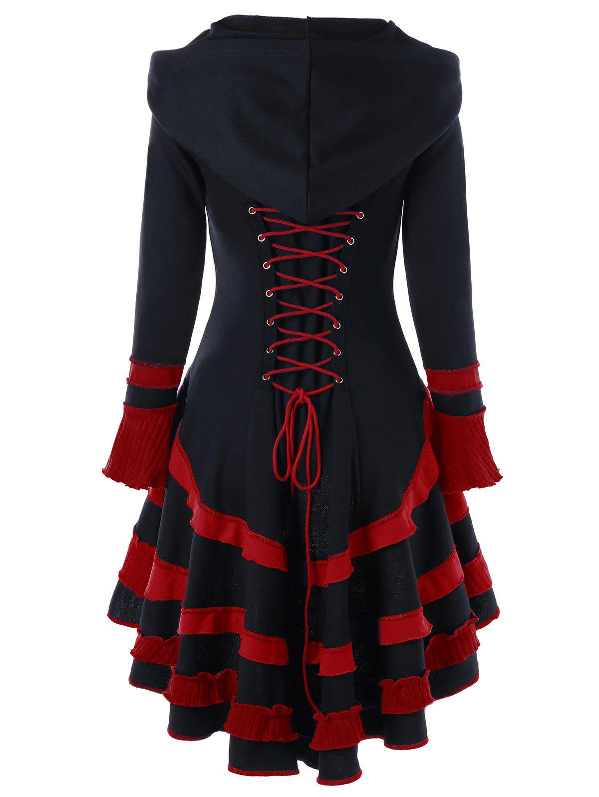 Lace-up High Low Buckle Duffle Coat, Black and red