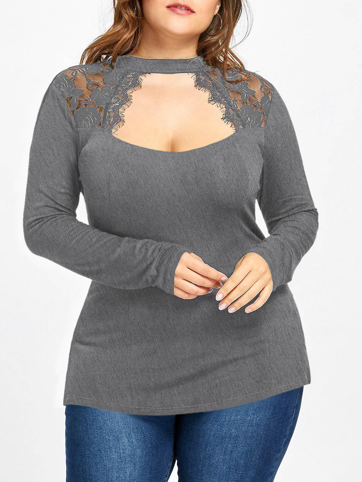 Buy Plus Size Lace Trim Keyhole Top