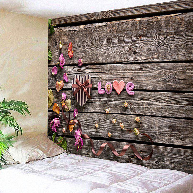 Buy Valentine's Day Gift Box Wood Grain Love Printed Wall Tapestry
