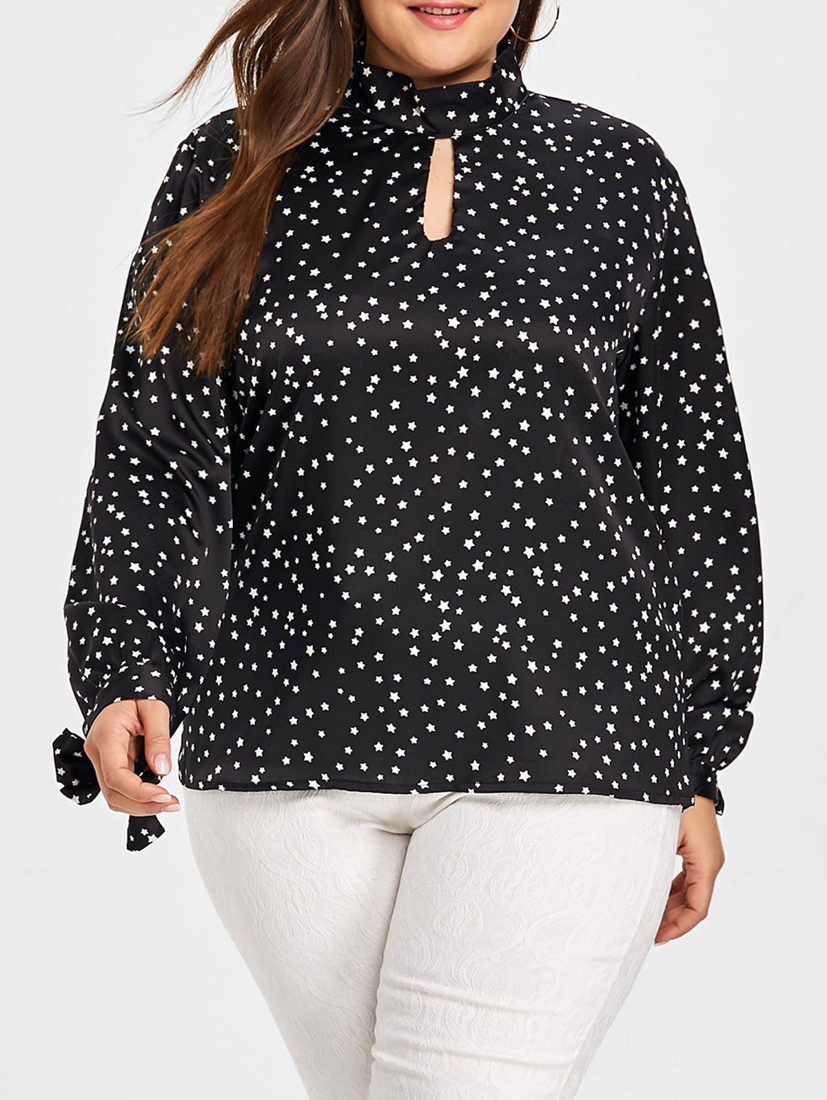 Outfit Plus Size Keyhole Star Print Blouse
